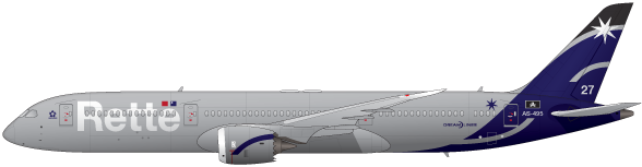 Boeing 787 Dreamliner in Rette livery digital illustrtation by thealphastate