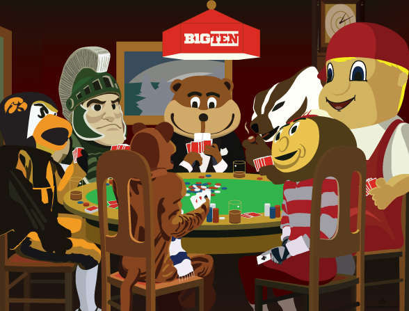 Big Ten Mascots Playing Poker mural by thealphastate