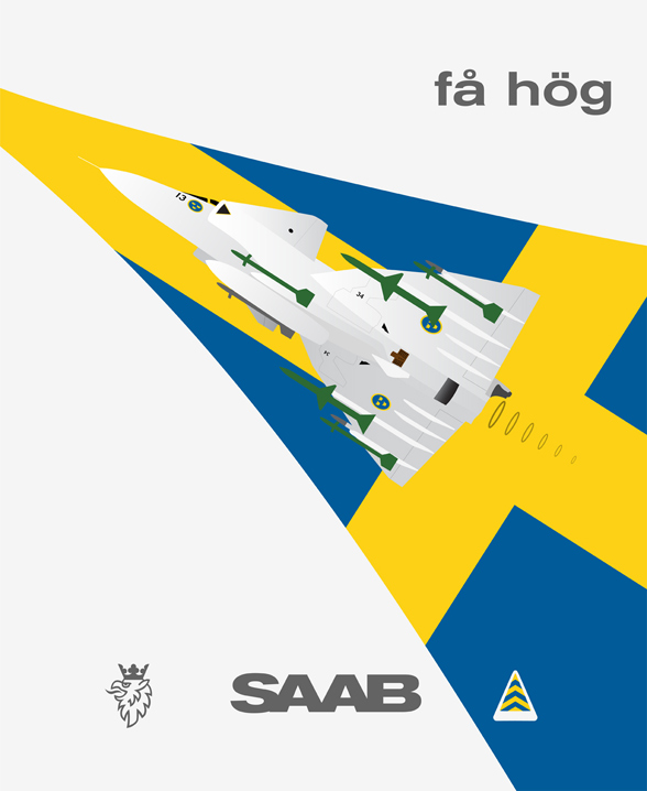 SAAB Viggen plakatstil poster by thealphastate